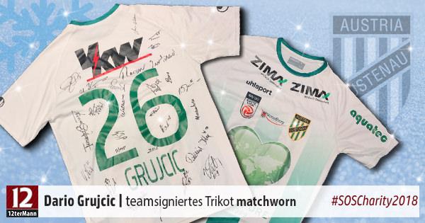 Signiertes matchworn Auswärtstrikot vom SC Austria Lustenau – Weihnachts-Charity