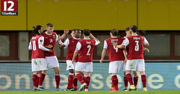 Die österreichische Nationalmannschaft am jubeln